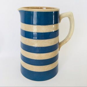 Stoneware Striped Blue Pitcher Made in England
